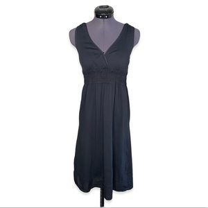 Lole Ruched Waist Midi Flowy Black Tank Dress